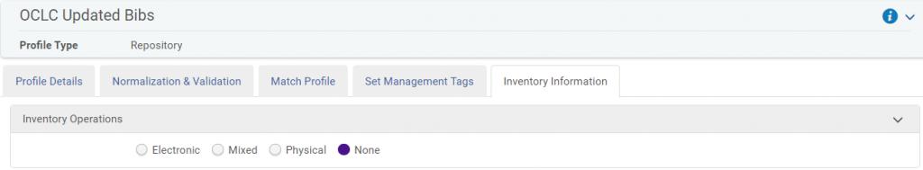 Inventory information tab