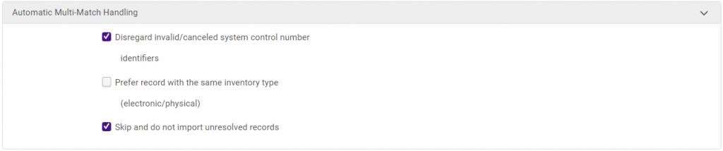Match profile tab: Automatic Multi-Match Handling