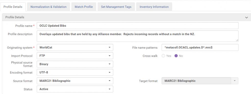 Profile details tab in Alma