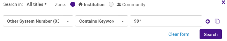 Repository search for Other System Number Contains Keyword 99*