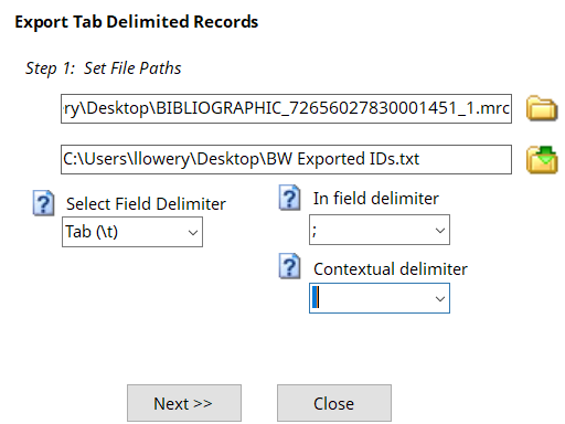 Export tab delimited Records in MarcEdit
