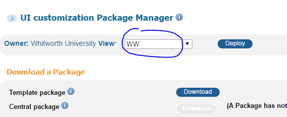 PBO UI customization Package Manager owner dropdown