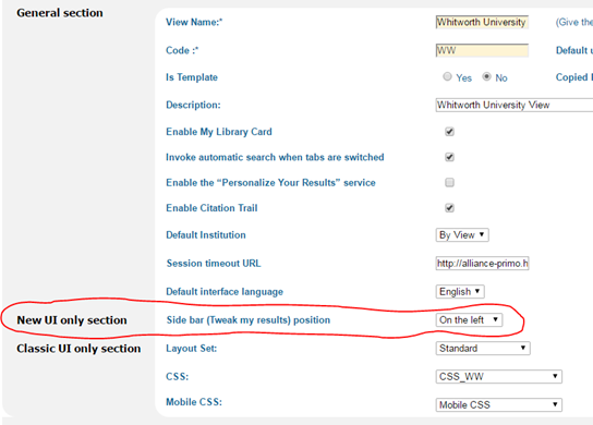 Screenshot of PBO New UI only section, Side bar (Tweak my results) position dropdown.
