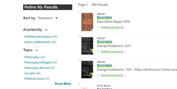 Screenshot of Refine My Results facets to the left of brief search results in Primo.