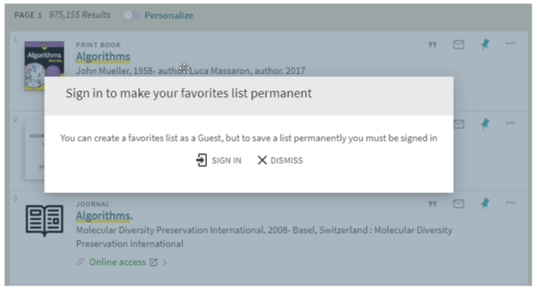 Modal window in Primo titled Sign in to make your favorites list permanent.