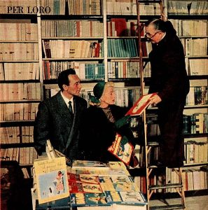 People in an Italian library