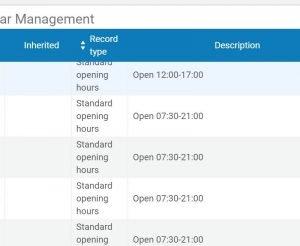 Screenshot of open hours calendar in Alma.