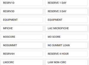 Screenshot of an item policies code table in Alma.