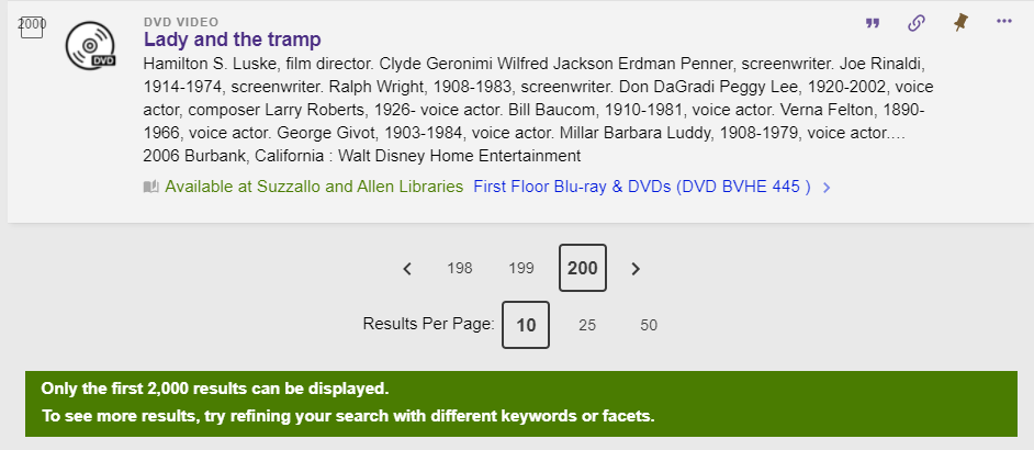 Primo pagination navigator for page 200 of search results with pages 201 and 202 hidden and the warning: Only the first 2,000 results can be displayed. To see more results, try refining your search with different keywords or facets.